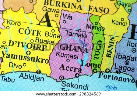 Map view of Ghana on a geographical globe.