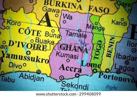 Map view of Ghana on a geographical globe. (vignette)