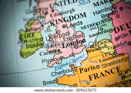 Map view of Great Britain on a geographical map. (vignette) - stock photo