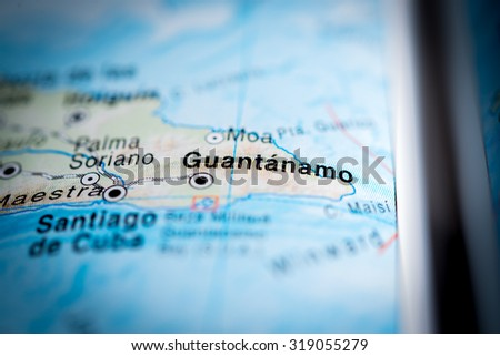 Map view of Guantanamo, Cuba. (vignette) - stock photo