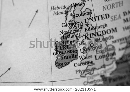 Map view of Ireland on a geographical globe. (black and white) - stock photo