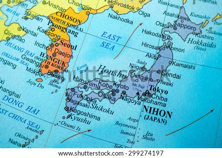 Map view japan on geographical globe stock photo royalty free map view of japan on a geographical globe gumiabroncs Images