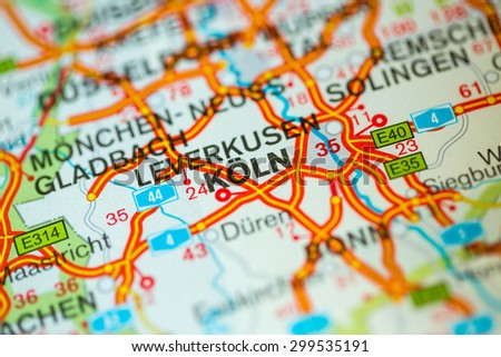 Stock Images Similar To ID Map View Of Koln Germany On - Germany map view