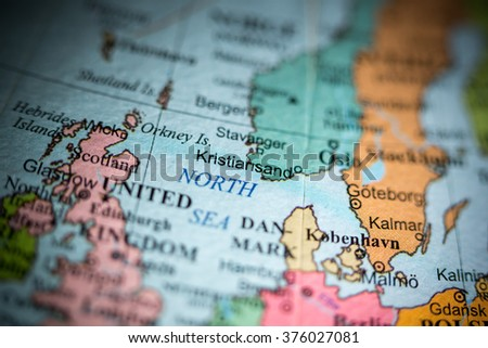 Map View Kristiansand Norway On Geographical Stock Photo Royalty