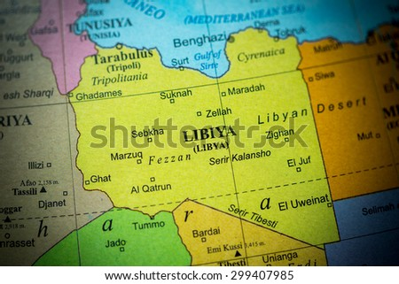 Map view of Libya on a geographical globe. (vignette) - stock photo