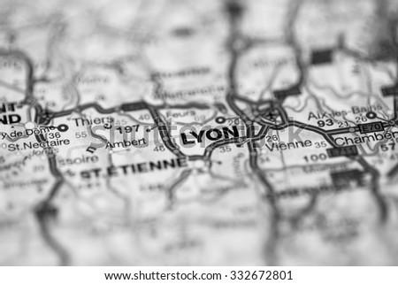 Map view of Lyon, France on a geographical map. (black and white) - stock photo
