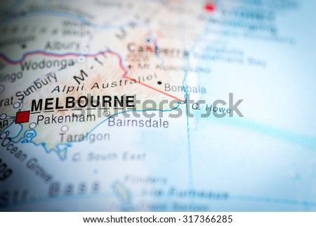 Map view of Melbourne, Australia. (vignette) - stock photo