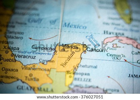 Map view of Merida, Mexico on a geographical map. - stock photo