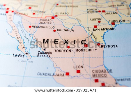 Map view of Mexico. - stock photo