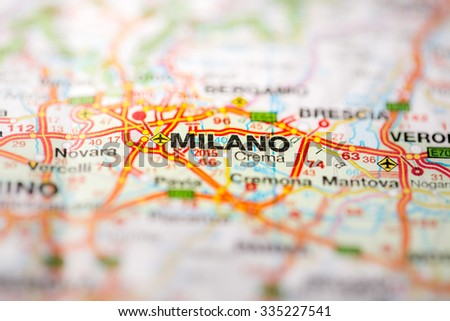 Map view of Milano, Italy on a geographical globe. - stock photo