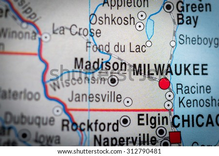 Map view of Milwaukee. (vignette) - stock photo