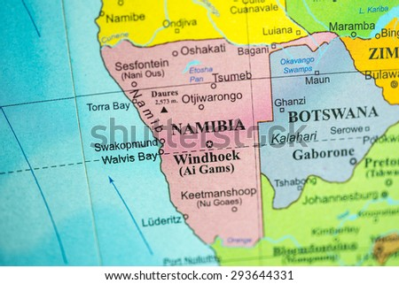 Map view of Namibia on a geographical globe.