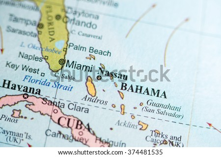 Map view of Nassau, Bahamas on a geographical map of North Ameri - stock photo