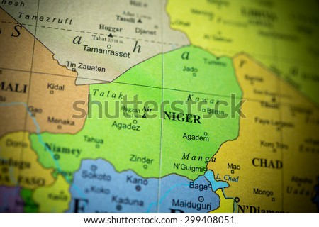 Map view of Niger on a geographical globe. (vignette)