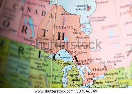 Map view of Ontario, Canada on a geographical map. - stock photo