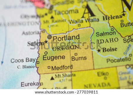 Map view of Oregon on a geographical globe. - stock photo