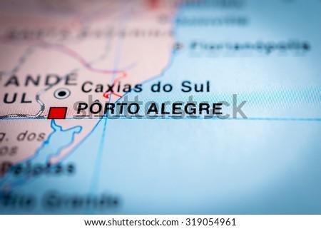 Map view of Porto Alegre, Brazil. (vignette) - stock photo
