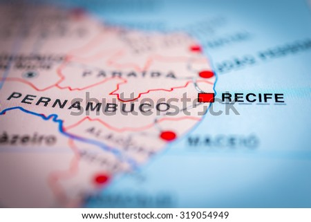 Map view of Recife, Brazil. (vignette) - stock photo