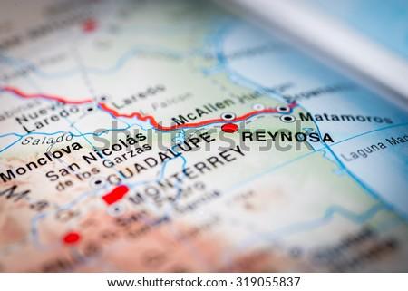 Map View Reynosa Mexico Vignette Stock Photo Royalty Free