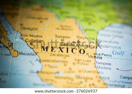 Map View Saltillo Mexico On Geographical Stock Photo 376026937