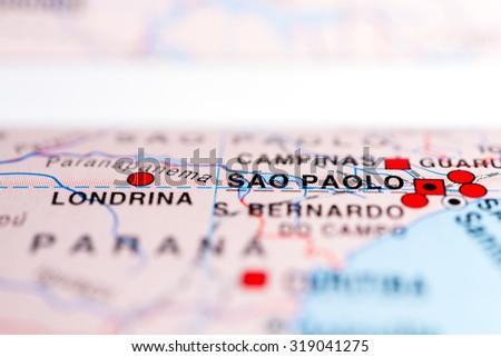 Map view of Sao Paolo, Brazil. - stock photo