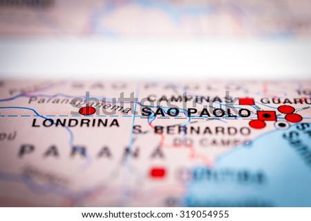 Map view of Sao Paolo, Brazil. (vignette) - stock photo