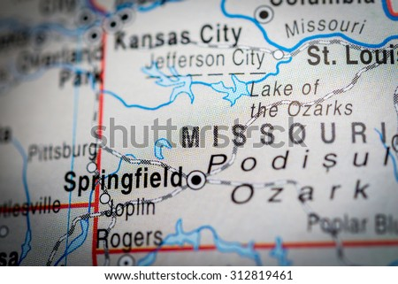 Map view of Springfield. (vignette) - stock photo