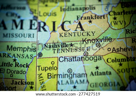Map view of Tennessee on a geographical globe. (vignette) - stock photo