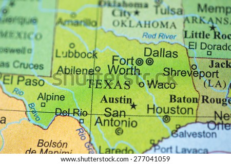 Map view of Texas on a geographical globe. - stock photo