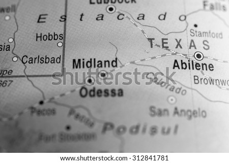 Map view of Texas State - stock photo