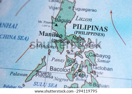 Map view of the Philippines on a geographical globe. - stock photo