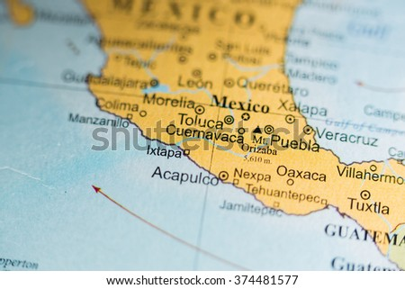 Map View Toluca Mexico On Geographical Stock Photo Royalty Free