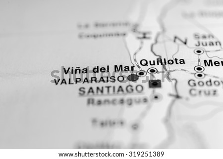 Map view of Vina del Mar, Chile. - stock photo
