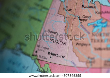 Map view of Yukon, Canada on a geographical map. - stock photo