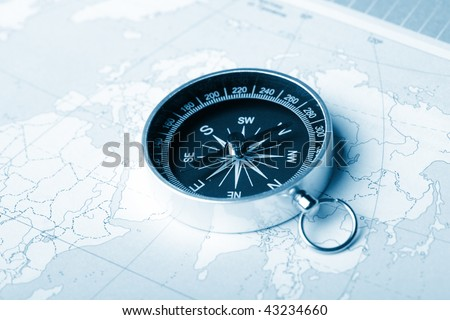 Map with a compass - stock photo