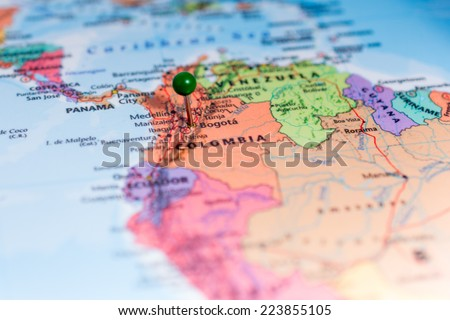 Map with a green pin placed on Bogota Colombia  - stock photo