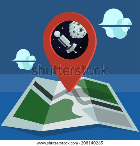 Map with a marker, satellite and moon - stock photo
