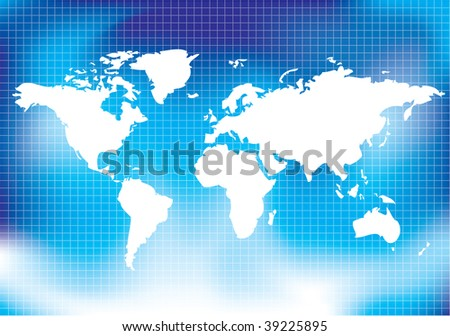 Map with blue background - stock photo