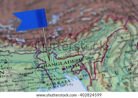 Map with blue flag in Bangladesh - stock photo