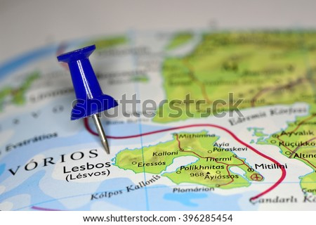 Map Blue Pin Lesbos Isle Greece Stock Photo Royalty Free 396285454