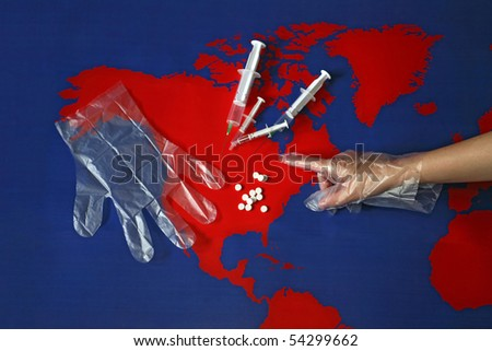 Map with drugs. Possible illustration for aids, diabetes, depression and some other diseases. - stock photo