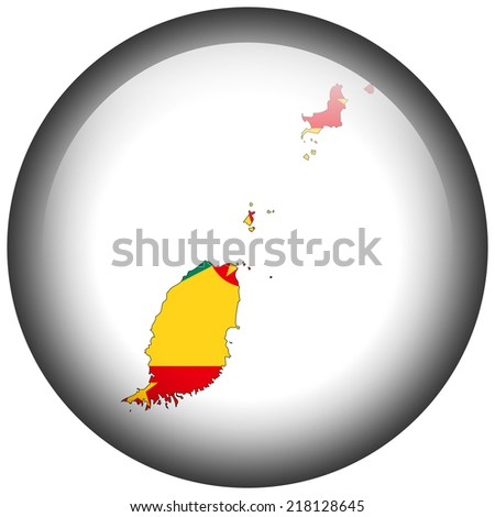 Map with flag in button - Grenada - stock photo