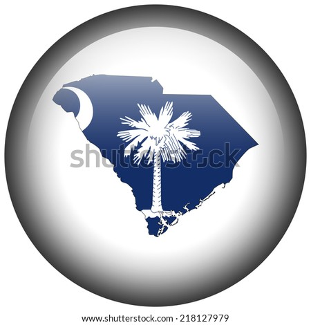 Map with flag in button - South Carolina - stock photo