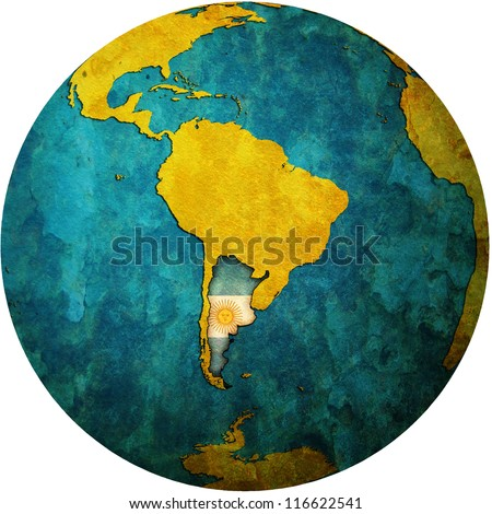 map with flag of argentina on isolated over white map of globe - stock photo