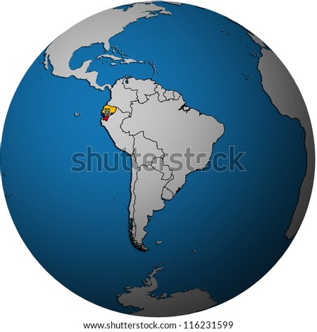 map with flag of ecuador on isolated over white map of globe