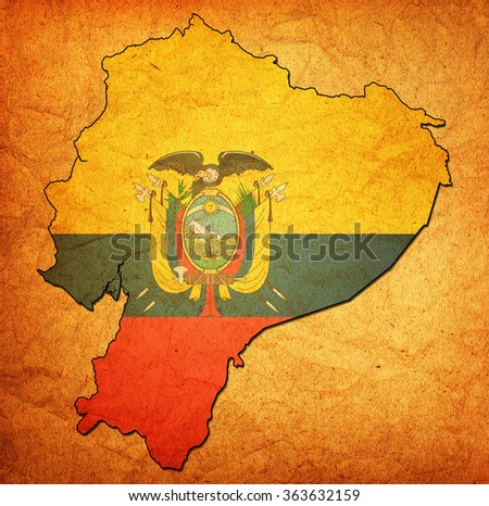 map with flag of ecuador with national borders - stock photo