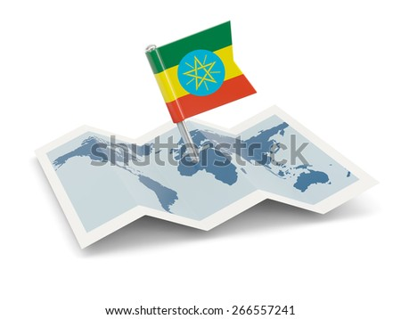 Map with flag of ethiopia isolated on white - stock photo