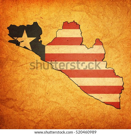 map with flag of liberia with national borders