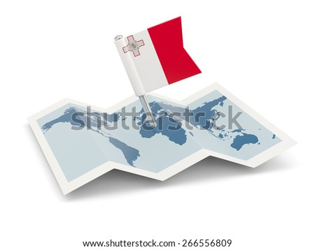 Map with flag of malta isolated on white