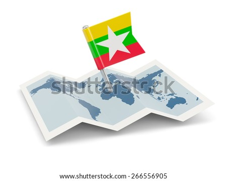 Map with flag of myanmar isolated on white - stock photo